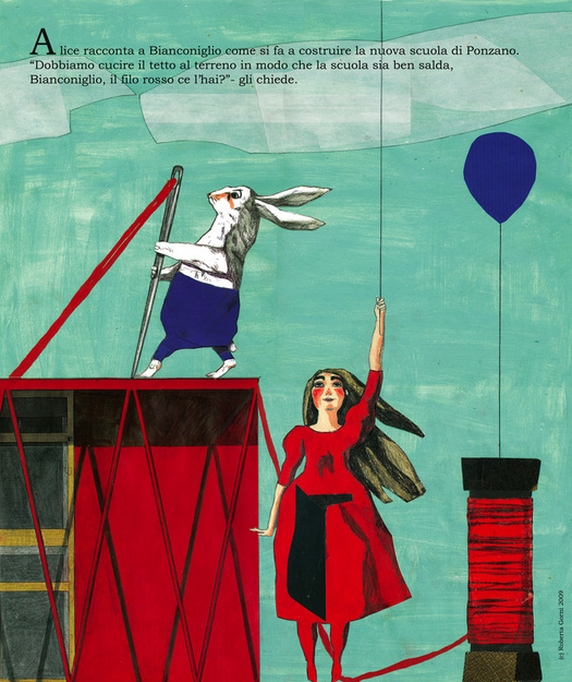 Alix and the White Rabbit drawing the school: they sew the roof to the ground with  a red thread  (Drawing: Roberta Gorni)